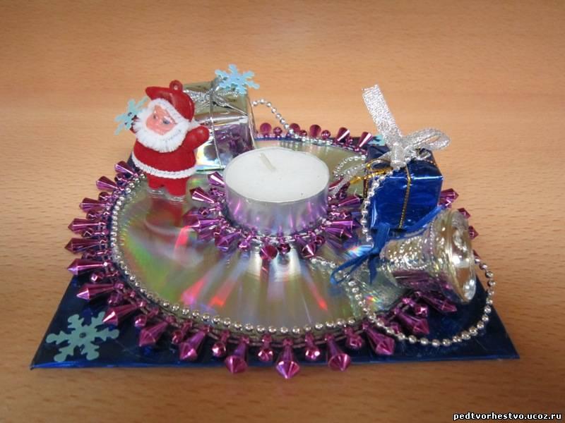 Подсвечник своими руками на новый год из дисков своими руками